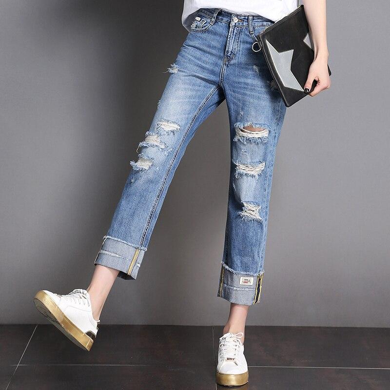 52fb8c9c607 CTRLCITY 2018 New Arrival Women Spring Jeans Loose Straight Mom Jeans Femme  Wide Leg Mid Waist sweet Denim Pants feminino