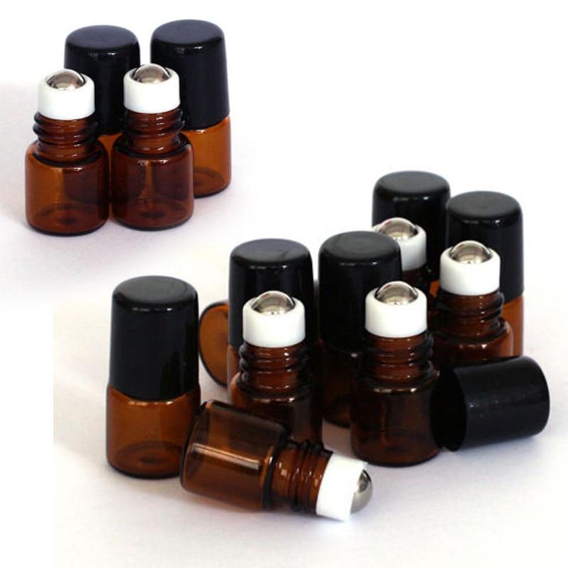 Mayitr 20pcs Mini Amber Roll On Bottle 1ml Empty Roll On Glass Bottle Easy Carry For Essential Oil Refillable Perfume Bottle