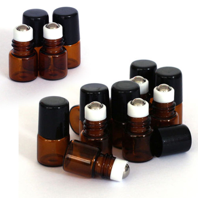 Mayitr 20pcs Mini Amber Roll On Bottle 1ml Empty Roll On Glass Bottle Easy Carry For Essential Oil Refillable Perfume Bottle