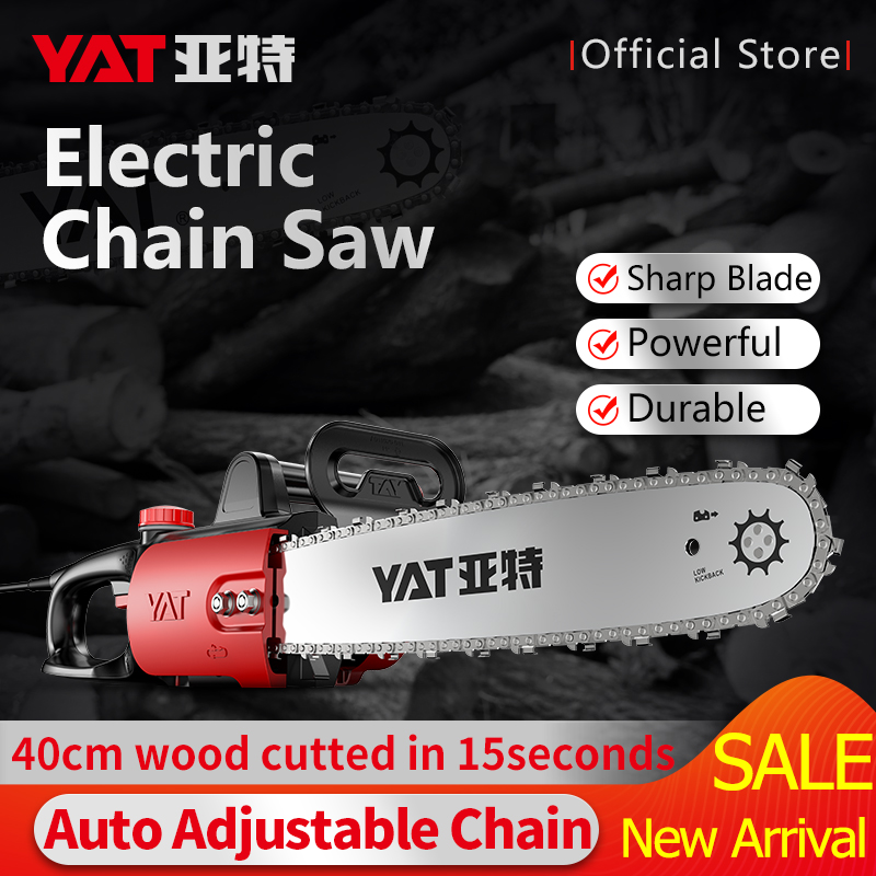 YAT Electric Saw 220V 1400W Powerful Chain Saw for Woodworking Household DIY Chainsaw