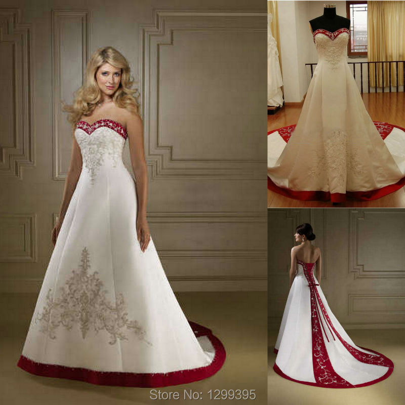 Red And White Satin Wedding Dresses Wedding Gown Court