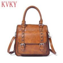 2016 Autumn Winter Vintage Fashion Rivet Tote Bags High Quality Women Leather Handbags Multifunctional Shoulder Crossbody Bags
