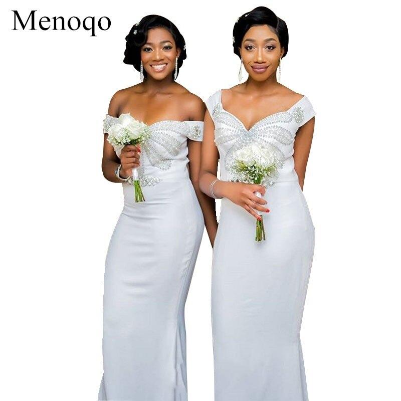 Mermaid Off Shoulder Sweetheart   Bridesmaid     Dress   Long Ivory Women Wedding Guest   Dress   Beaded Formal Gowns