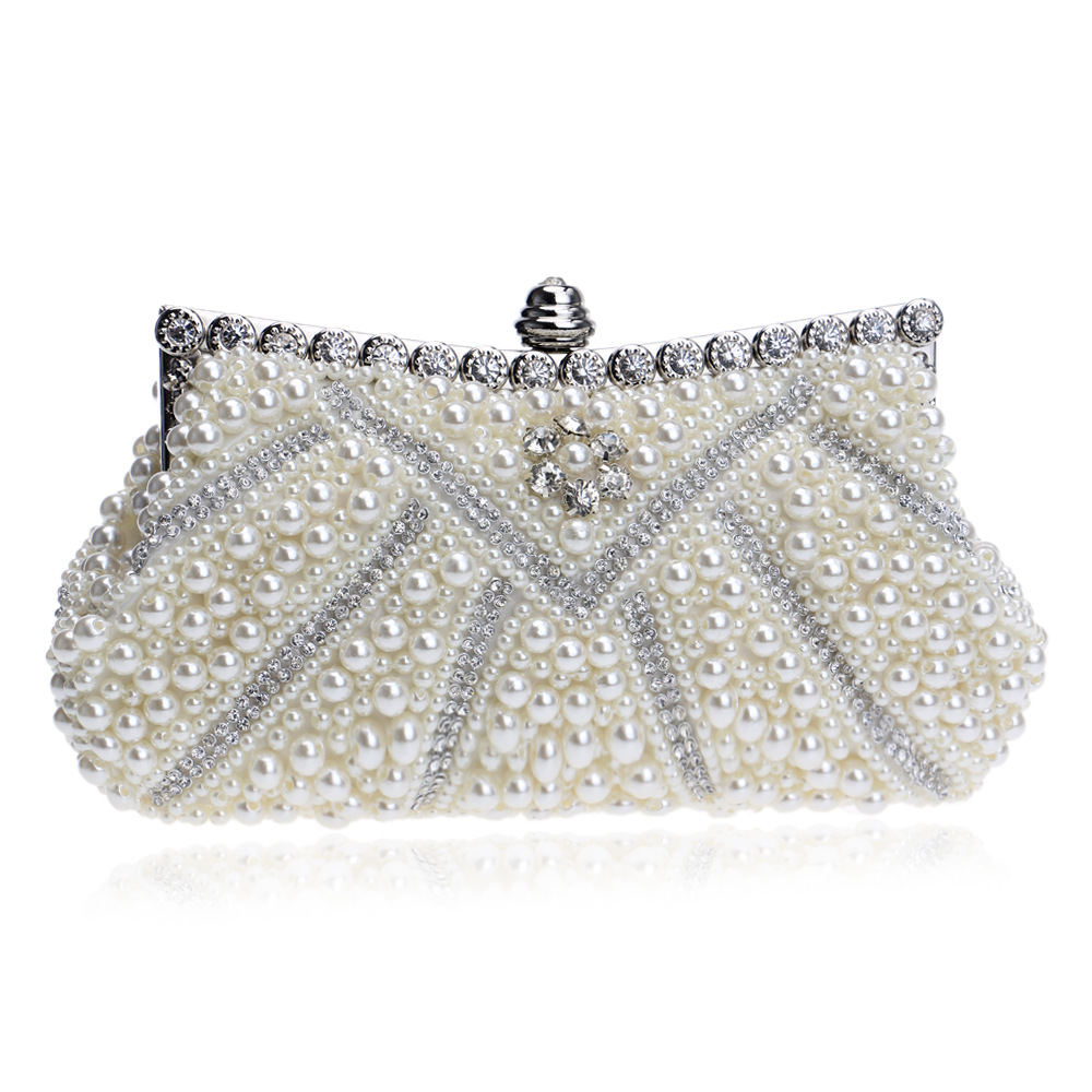 Vintage Clutch with Crystal Diamonds and Pearls for Women, Necessary for Wedding and Party, Chain Bag multi functional intramuscular injection training pad