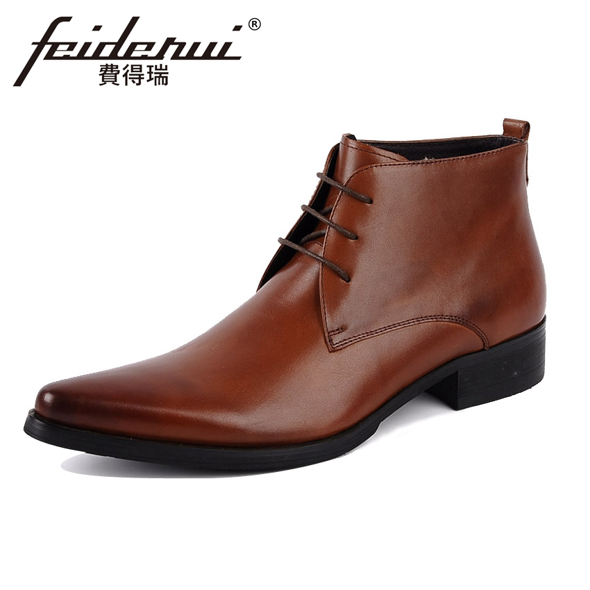 Italian Designer Genuine Leather Mens Basic Ankle Boots Pointed Toe Lace-up High-Top Handmade Cowboy Motorcycle Man Shoes YMX94
