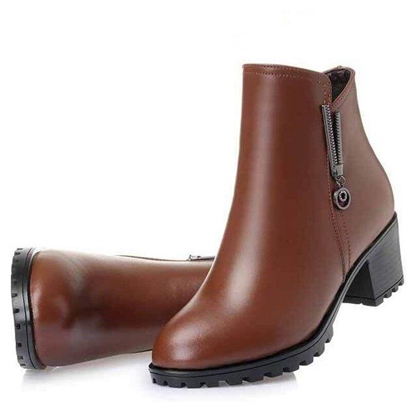 La Chaussures Plus Bottes Neige Véritable Talon Noir Taille Femmes Nouveau marron D'hiver 2018 Épais De Velours Chaud Confort En Femme Cuir QdoWreCxB