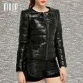 Зима женщины подлинная кожаное пальто из натуральной кожи короткая куртка черный 100% овчины мотоцикл куртки пальто abrigos mujer LT979