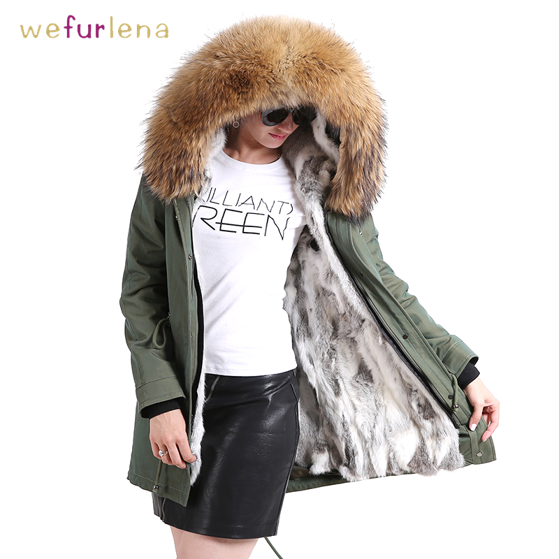 Wrinkle-free Genuine Rabbit Fur Coat With Hooded Super Collar Waterproof Real Fur Waistcoats Winter Fur Jacket Women Clothes