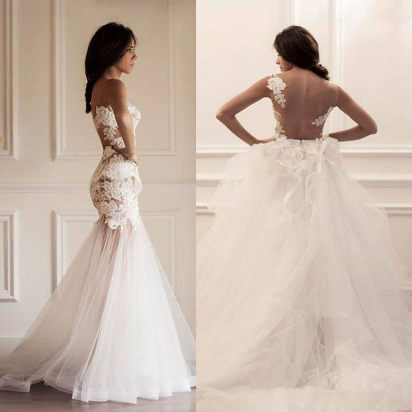 Detachable Trains For Wedding Gowns: Vestidos Verao 2016 Mermaid Wedding Dress Sheer Lace
