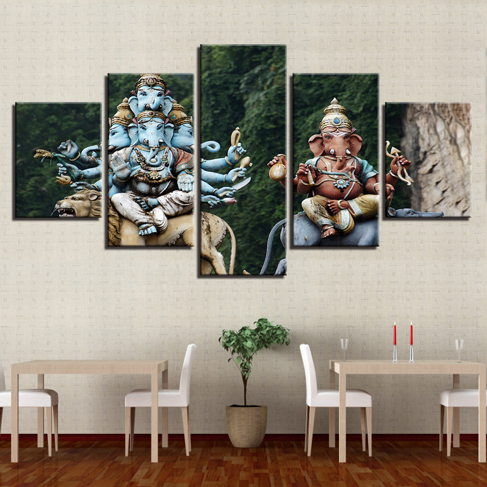 HD Printed Modern Living Room Wall 5 Panel India Elephant Head God Home Decor Art Painting Modular Pictures Canvas