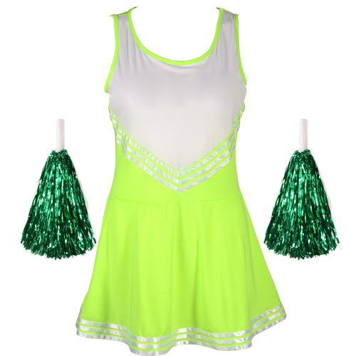 Fluorescent Green Cheerleader Uniform Girl's Cheerleader Robe Pom-pom Sport Cheerleader Suits Avec Des Pom-poms Vert M (34-36)