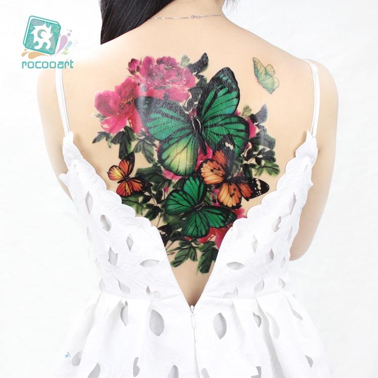 Rocooart Pc 24x32 Cm Volle Zurück Tattoo Schmetterling Blume Wasserdicht Temporäre Tätowierung Aufkleber Große Vögel Gefälschte Tattoo Tatouage Weibliche Moderater Preis