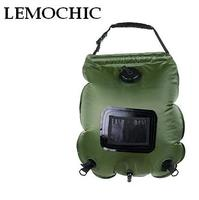 LEMOCHIC 20L outdoor camping hiking Self driving tour solar heating with Thermometer Folding Shower Bag Hot Water