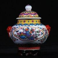 العتيقة اليدوية السيراميك الشاي زجاجة جرة جينغدتشن فن الخزف الشاي الكنز النادر الشاي السيراميك وعاء هدية علب مختومة العلبة
