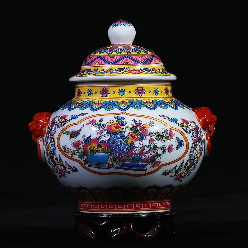 Antique Handmade Ceramic Tea Jar Jingdezhen Art Treasure Rare Porcelain Tea Bottle ceramic tea pot gift sealed cans caddy