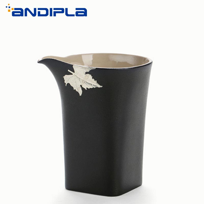 215ml Black Zen Coarse Pottery Fair Mug Boutique Handmade Inlaid Tin Maple Leaves Kung Fu Tea Set Milk Coffee Cup Teacup Tea Sea
