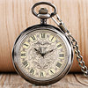 Vintage Open Face Roman Numberal Mechanical Pocket Watch Pendant Fob Chain Flower Dial Clock Men Women
