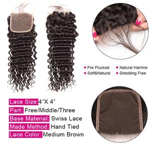 Image 3 - Deep Wave Bundles With Closure 3 Bundles Brazilian Hair Weave Bundles With Closure Remy Human Hair Bundles With Closure ALIPOP