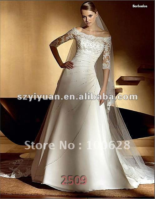 2012 Latest Lace Top Off Shoulder Long Sleeve Bridal Wedding Dress
