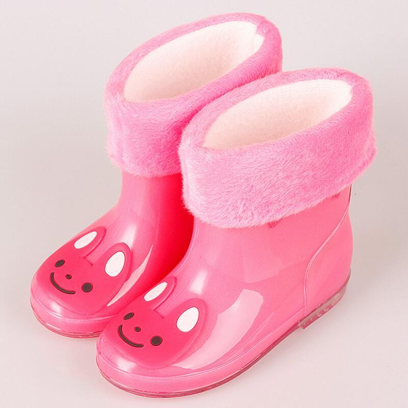 El nuevo venir lluvia Botas lluvia caliente Botas para Niños y Niñas dibujos animados niños moda de goma Zapatos de bebé Niño para niños Zapatos