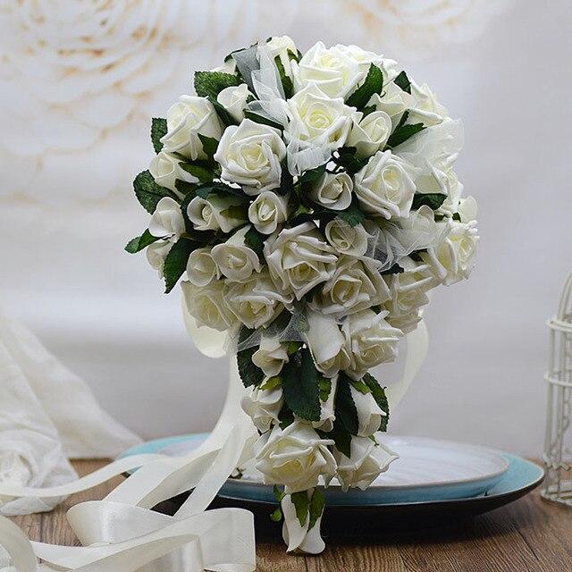 2017 Bouquet de mariage White/Pink/Purple Teardrop Cascade Flowers ...