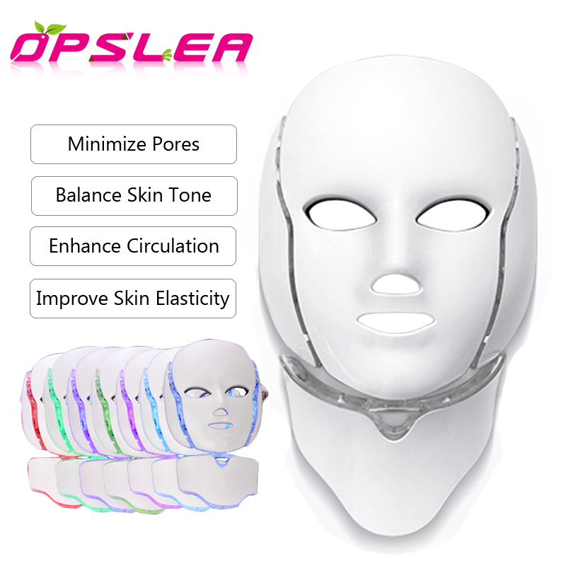 7 Color Light LED Facial Mask Photon Therapy Tighten Pores Anti Ance Wrinkle  Skin Care Rejuvenation Neck Beauty Spa Instrument