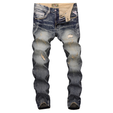 Fashion Streetwear Men Jeans Slim Fit Destroyed Ripped Jeans For Men Vintage Design Patch Embroidery Classical Jeans Denim Pants все цены