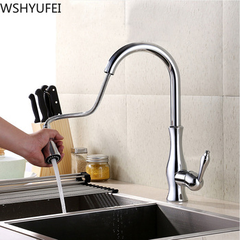 New hardware copper pull-out kitchen rotating faucet hot and cold sink sink can be two-piece sink faucet free shipping