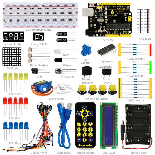 Frete grátis! NOVO! keyestudio iniciado aprendizagem kit básico para iniciantes arduino com uno r3