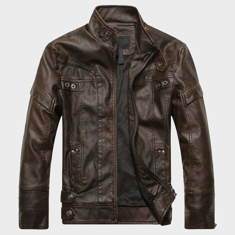 Chaquetas de cuero para hombre chaqueta de vaquero de motocicleta clásica otoño Casual de terciopelo masculino grueso abrigos de marca 5XL