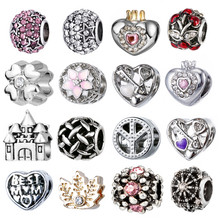 1PC Making Silver European Charms Beads Fit European Bracelet Jewelry Making Tibetan Silver Crystal Spacer Beads(China)