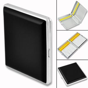 WITUSE Special offer! Leather Case Can Hold 10 12 14 16 18 20 Cigarettes Filter Business Black Cigarette Case Box With Metal(China)