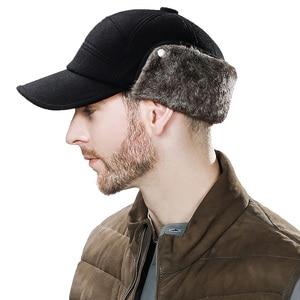 Image 3 - FANCET גברים של בייסבול כובע חורף חם Earflap אבא כובעי צמר פו פרווה רוסיה כובעי Casquette Gorro מצויד Earmuff הגנה 67134