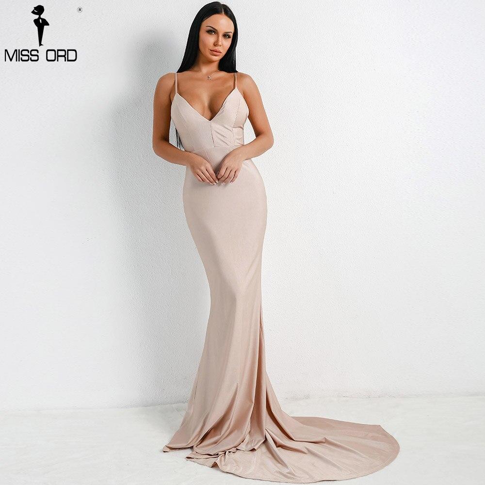 Missord 2018 Для женщин Сексуальная V шеи с плеча платья с открытой спиной женский сплошной Цвет пол Длина платье vestdios FT18320