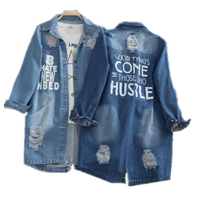 נשים בתוספת גודל 9XL נשים של מעיל רוח מעיל loose מודפס Oversize Streetwear מעילי דק מעיל נשים ג 'ינס מעיל לנשים