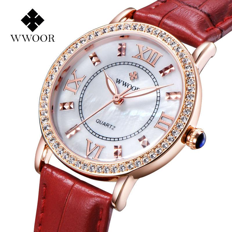 Prix pour Top Marque De Luxe Diamants De Mode Robe Montre Dames Quartz Rose Montre En Or Véritable Bracelet En Cuir Femmes Montres Relogio Feminino