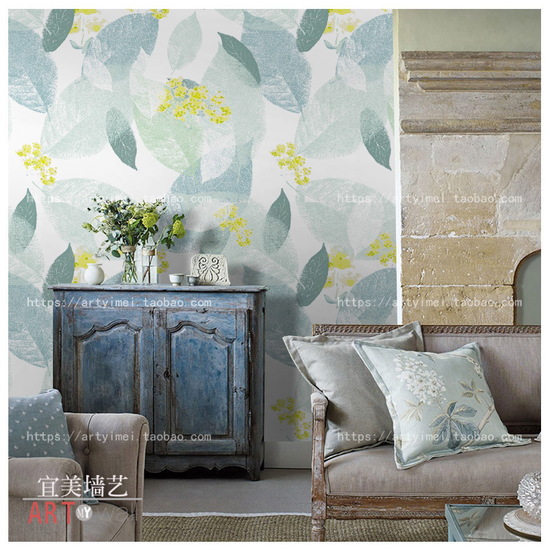 0.53x10 m Pasture Style Leaf Green Peppermint  Pattern Wallpaper Living Room Bedroom Background Wallpaper Stitching Murals0.53x10 m Pasture Style Leaf Green Peppermint  Pattern Wallpaper Living Room Bedroom Background Wallpaper Stitching Murals