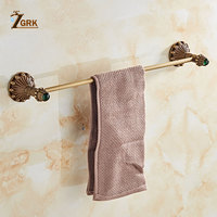 ZGRK Fasion Frap Brass Color Wall Mounted Space Aluminum Single Towel Bars Bathroom Towel Hanger Bathroom Accessories 9007