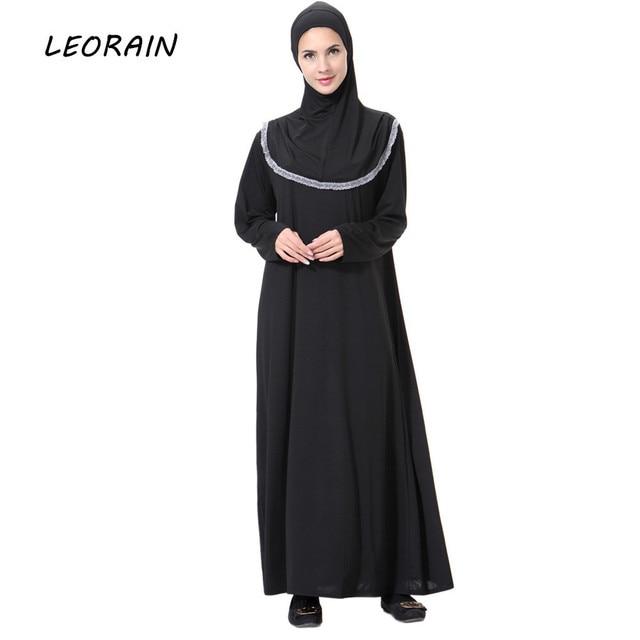 Robe Femme Muslim Arab Middle East Milk Silk Long Sleeve Black