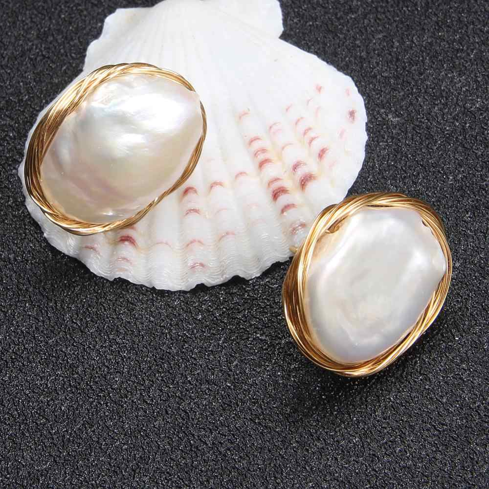 เจ็ดสาวแฟชั่นสตั๊ดต่างหูไข่มุกน้ำจืด pearl ต่างหูเครื่องประดับ handmade ต่างหูสำหรับงานแต่งงานของผู้หญิง