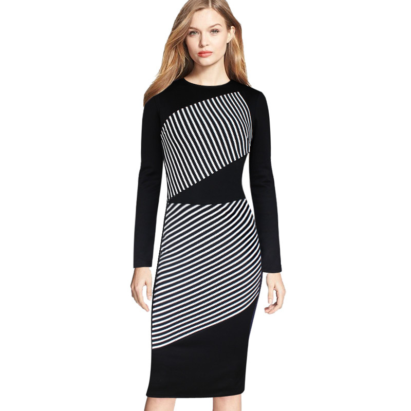 5XL Plus Size New Arrivals 2016 Elegant Spring Summer Dresses Black White  Striped Long Sleeve Pencil Casual Office Women Dress-in Dresses from  Women\'s ...