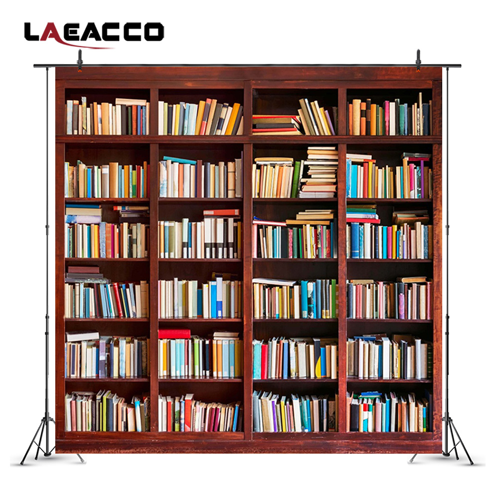 Laeacco Photographic Backdrops Bookshelf Study Room Decoration Photocall Wallpapers For Photography Backgrounds For Photo Studio in Background from Consumer Electronics