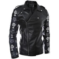 Mens pu leather jacket male coat skulls flower sleeve printed style side zipper designs hip hop.jpg 250x250