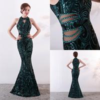 Robe De Soiree Shinny Sequins Beads Long Mermaid Evening Dresses Green/Black/Gold Evening Party Dress Prom Gowns Vestidos