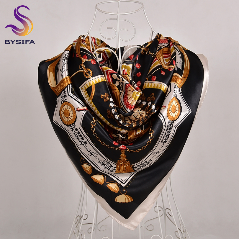 [BYSIFA] 2018 Winter New Silk   Scarf   Shawl Women Fashion Luxury Square   Scarves     Wraps   Brand Chain Design Muslim Head Neck   Scarves