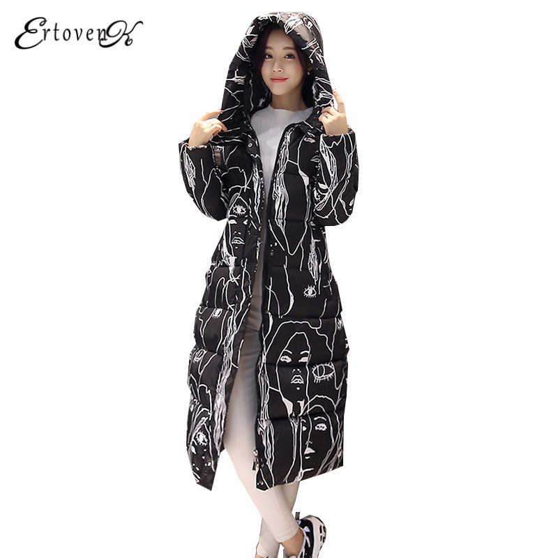 Autumn Winter Women Cotton Coat 2017 New Long Hooded Top Jacket Large size Outerwear Long-sleeved Clothing abrigos mujer ONE941 plus size women cotton coats jacket winter 2017 new long sleeve top slim fashion clothing korean outerwear abrigos mujer lh013