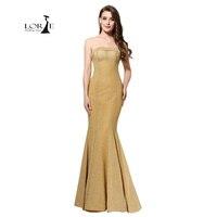 Prom Dresses 2017 Mermaid Champagne Goedkope Feestjurk Avondjurken Gala Jurken Pailletten Gouden Pailletten Jurk Lange Formele