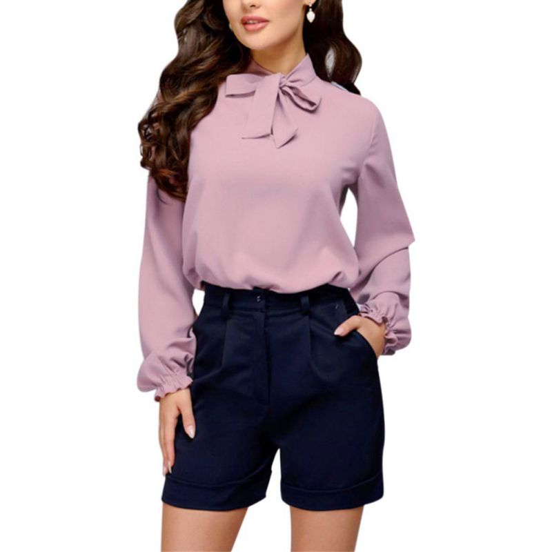 Autumn Blouse Elegant Women Office Ladies Laced Bow Solid Stand Collar Long Full Petal Sleeve Solid Color Blouse