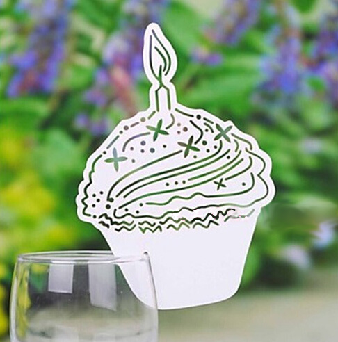 Cake Candel Art Red Wine Glass Card Cup Card Table Mark