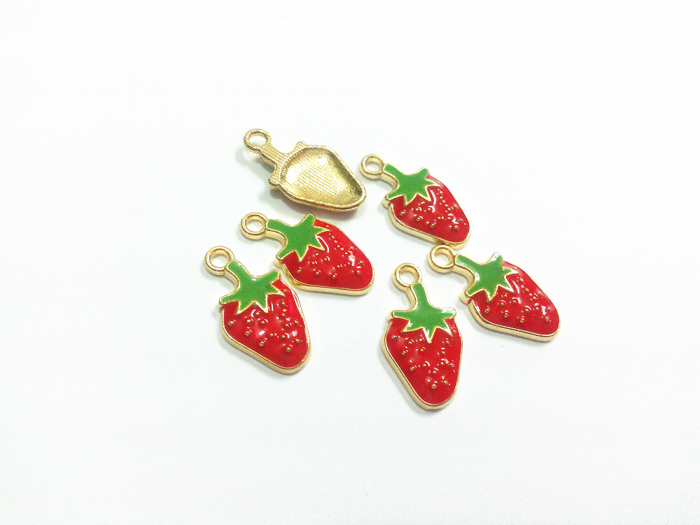 Wholesale 21mm*11mm 30pcs/lot Gold All Enamel Strawberry Charms Pendants